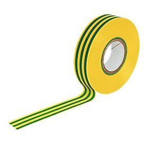 Insulation Tape, Green & Yellow, 19 mm, 33 m Image 1