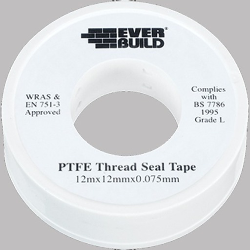 PTFE Water Tape, White, 12 mm x 12 m Image 1
