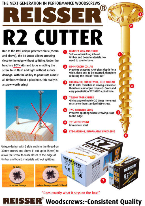 Reisser R2 Cutter Screw, 3.5x25 mm, pack of 200 Image 2