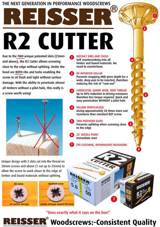 Reisser R2 Cutter Screw, 6.0x180 mm, pack of 100 Image 2