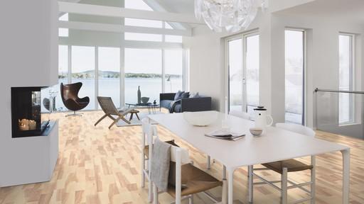 Boen Marcato Ash White Engineered 3-Strip Flooring, White Stained, Matt Lacquered, 215x3x14 mm Image 1