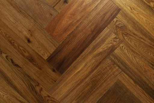 Chene Herringbone Engineered Smoked Oak Flooring, Brushed, UV Oiled, 600x150x14 mm Image 1