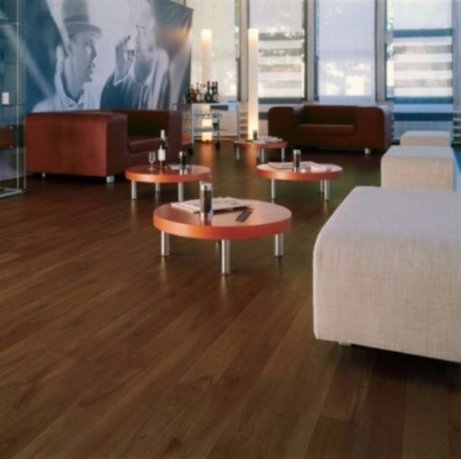 Chene American Walnut 4-V Groove Laminate Flooring, 8 mm Image 1