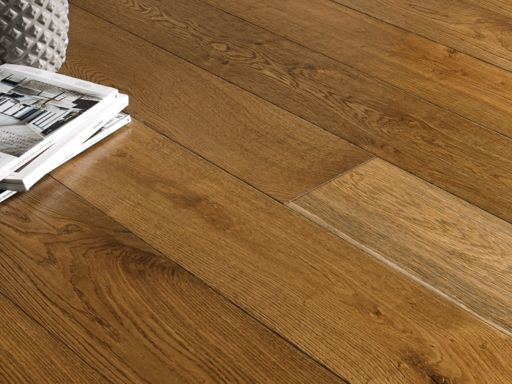 Chene Engineered Oak Flooring, Smoked, Brushed, Lacquered, 190x6x20 mm Image 1