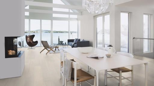 Boen Andante Oak Engineered Wood Flooring, White, Brushed, Lacquered, 14x209x2200 mm Image 2