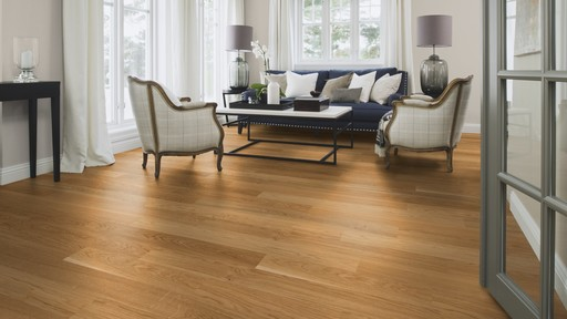 Boen Finesse Oak Parquet Flooring, Natural, Live Natural Oiled, Brushed, 2V Bevel, 10.5x135x1350 mm Image 1