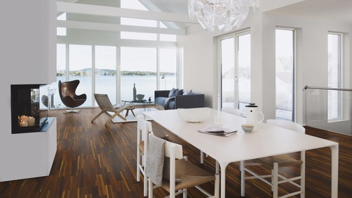 Boen Finesse Smoked Oak Parquet Flooring, 2V Bevel, Brushed, Oiled, 10.5x135x1350 mm Image 1