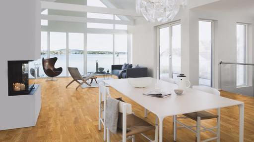 Boen Andante Oak Engineered 3-Strip Flooring, Matt Lacquered, 215x3x14 mm Image 1