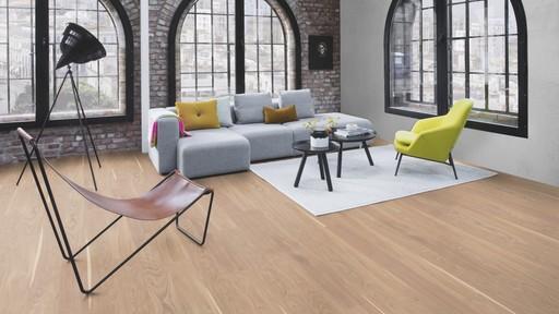 Boen Finesse Oak Parquet Flooring, Natural, White, Live Natural Oiled, Unbrushed 2V Bevel, 10.5x135x1350 mm Image 1