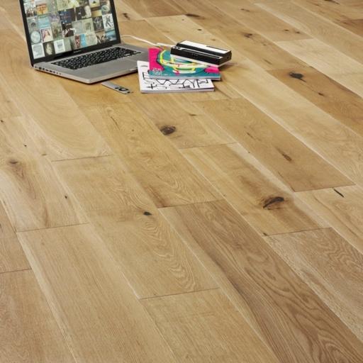 V4 Eiger Petit Engineered Oak Flooring, Rustic, Brushed & UV Oiled, 150x18xRL mm Image 1