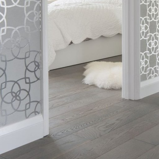V4 Eiger Petit Grey Stained Engineered Oak Flooring, Rustic, Brushed & Lacquered, 150x18xRL mm Image 1