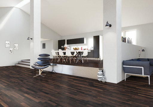 Junckers Solid Black Oak 2-Strip Flooring, Ultra Matt Lacquered, Harmony, 129x14 mm Image 2