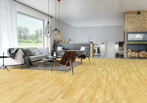 Junckers Beech Solid 2-Strip Wood Flooring, Ultra Matt Lacquered, Classic, 129x22 mm Image 1