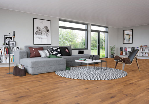 Junckers Beech SylvaKet Solid 2-Strip Flooring, Silk Matt Lacqured, Variation, 129x22 mm Image 1