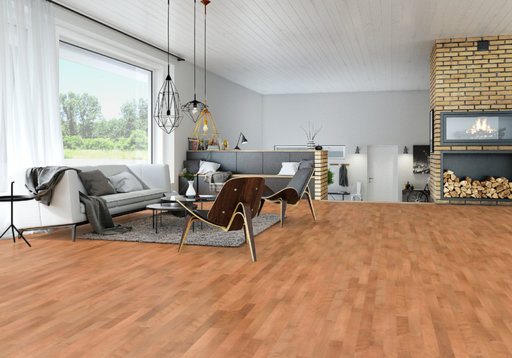 Junckers Beech SylvaRed Solid 2-Strip Wood Flooring, Silk Matt Lacquered, Classic, 129x14 mm Image 1