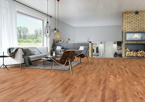 Junckers Beech SylvaRed Solid 2-Strip Wood Flooring, Untreated, Variation, 129x22 mm Image 2