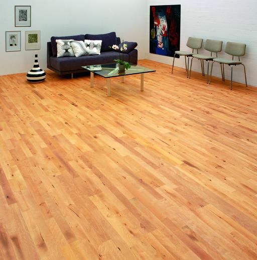 Junckers Beech Solid 2-Strip Wood Flooring, Ultra Matt Lacquered, Variation, 129x14 mm Image 2