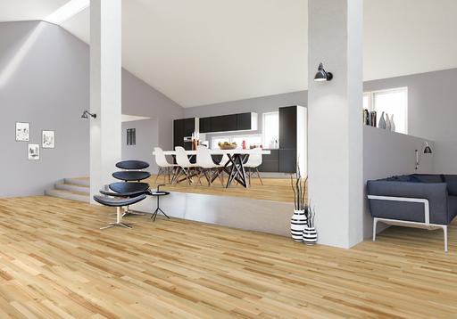 Junckers Light Ash Solid 2-Strip Wood Flooring, Ultra Matt Lacquered, Harmony, 129x22 mm Image 2