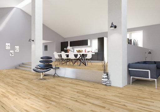 Junckers Light Ash Solid 2-Strip Wood Flooring, Ultra Matt Lacquered, Variation, 129x14 mm Image 1