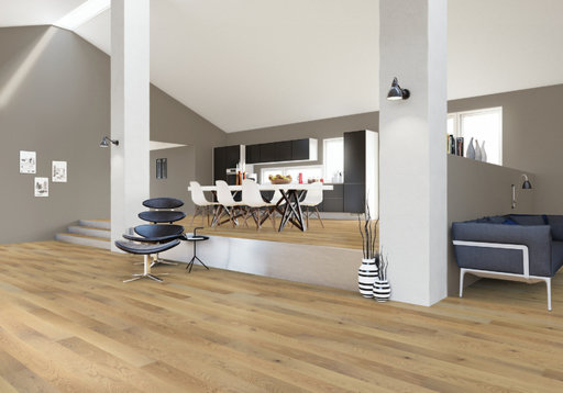 Junckers Nordic Oak Solid Wood Flooring, Ultra Matt Lacquered, Harmony, 1-Strip, 140x20.5 mm Image 2