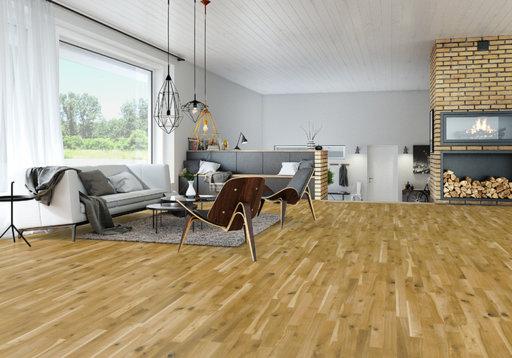 Junckers Solid Oak 2-Strip Flooring, Ultra Matt Lacquered, Variation, 129x14 mm Image 3
