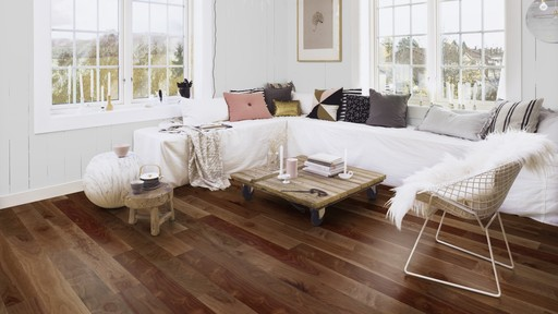 Boen Finesse American Walnut Parquet Flooring, Natural, Live Natural Oiled, Unbrushed, 2V Bevel, 10.5x135x1350 mm Image 1