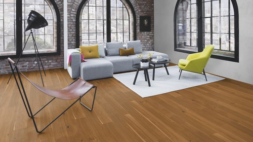 Boen Finesse Oak Honey Parquet Flooring, Rustic, Live Natural Oiled, Brushed, 2V Bevel, 10.5x135x1350 mm Image 1