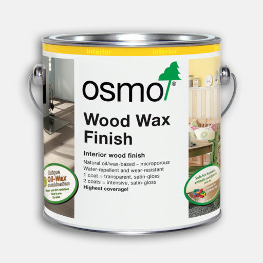 Osmo Wood Wax Finish Transparent, Extra Thin Clear Satin, 2.5L Image 1