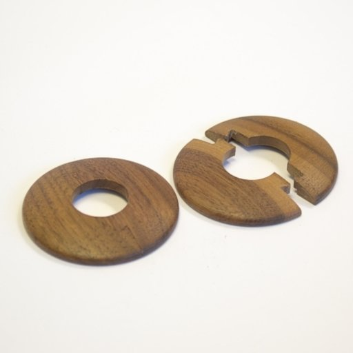 Solid Walnut Pipe Surrounds (Pipe Ferrule) Lacquered, 16 mm, Pair Image 1