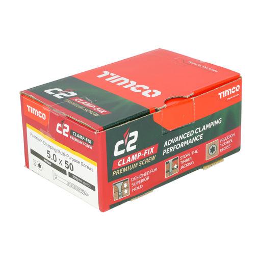 TIMco C2 Clamp-Fix Multi-Purpose Premium Screws - TX - Double Countersunk - Yellow 5.0 x 50 mm Image 2