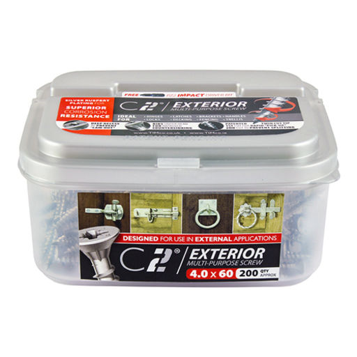 TIMco C2 Multi-Purpose Advanced Screws - PZ - Double Countersunk - Exterior - Silver 4.0 x 40 mm Image 2