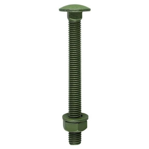 TIMco Carriage Bolts Hex Nuts & Form A Washers Dome Exterior Green 10.0 x 160 mm Image 1