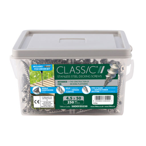 TIMco Classic Decking Screws - PZ - Double Countersunk - Stainless Steel 4.5 x 65 mm Image 2