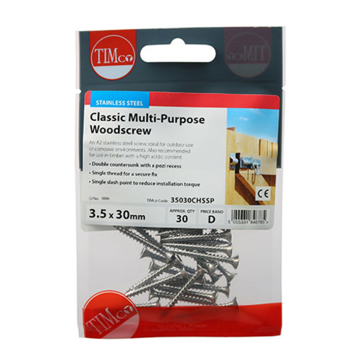 TIMco Classic Multi-Purpose Screws - PZ - Double Countersunk - Stainless Steel 3.5 x 30 mm Image 2
