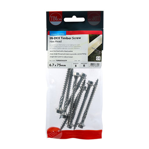 TIMco In-Dex Timber Screws - Hex - Stainless Steel 6.7 x 75 mm Image 2