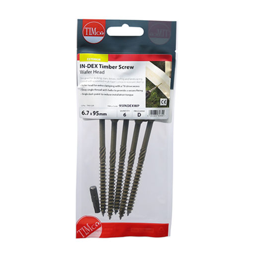 TIMco In-Dex Timber Screws - TX - Wafer - Exterior - Green 6.7 x 150 mm Image 2