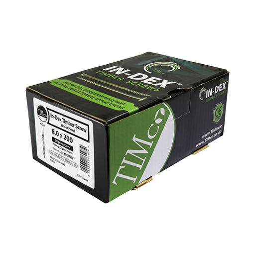 TIMco In-Dex Timber Screws - TX - Wafer - Exterior - Green 8.0 x 300 mm Image 2