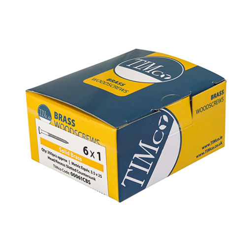 TIMco Solid Brass Woodscrews - SL - Countersunk 6.0 x 60 mM Image 2
