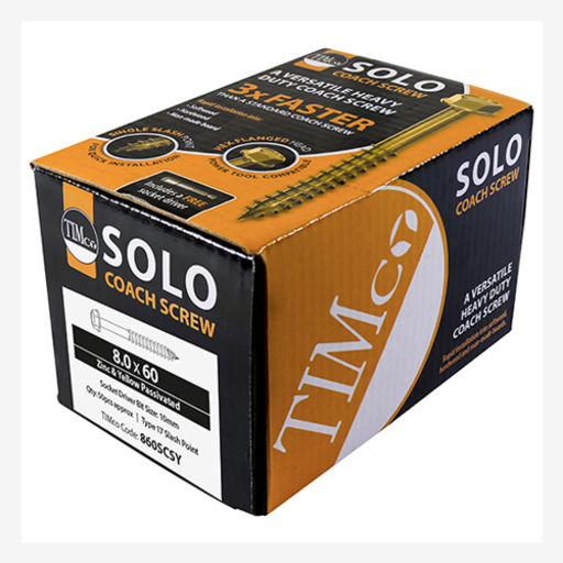 TIMco Solo Coach Screws - Hex Flange - Yellow 8.0 x 60 mm Image 2