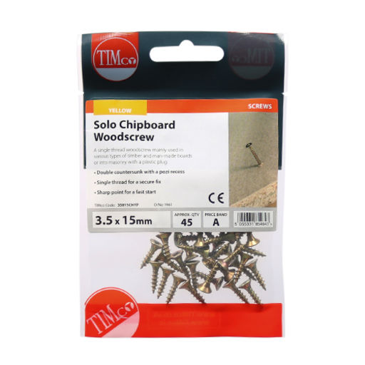 TIMco Solo Woodscrews - PZ - Double Countersunk - Yellow 4.0 x 60 mm Image 2