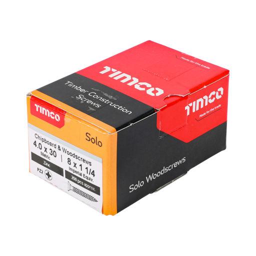 TIMco Solo Woodscrews - PZ - Double Countersunk - Zinc 4.0 x 30 mm Image 2
