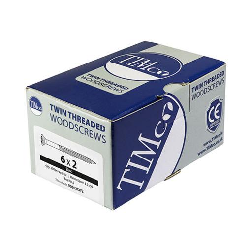 TIMco Twin-Thread Woodscrews - PZ - Double Countersunk - Zinc 6.0 x 80 mm Image 2
