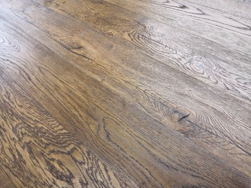 Tradition Antique Brown Engineered Oak Flooring, Distressed, Brushed, Oiled, 190x3x14 mm Image 1