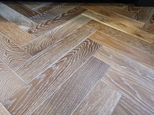 Tradition Engineered Oak Parquet Flooring, Herringbone, Smoked White, UV Oiled, 90x14x450 mm Image 1