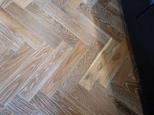 Tradition Engineered Oak Parquet Flooring, Herringbone, Smoked White, UV Oiled, 90x14x450 mm Image 2