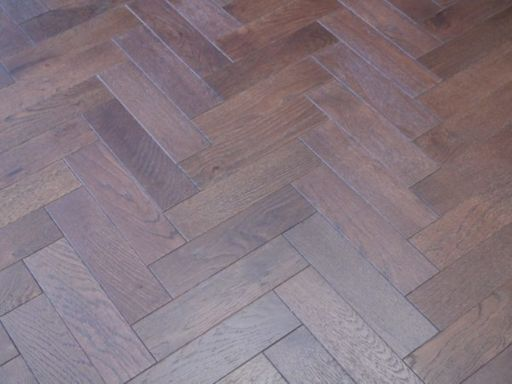 Tradition Engineered Oak Parquet Flooring, Walnut Stain, Brushed, Matt Lacquered, 80x18x300 mm Image 3