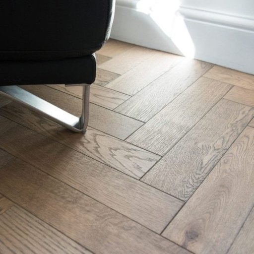 V4 Frozen Umber Engineered Oak Parquet Flooring, Rustic, Stained, Brushed & Hardwax Oiled, 90x15x360 mm Image 1