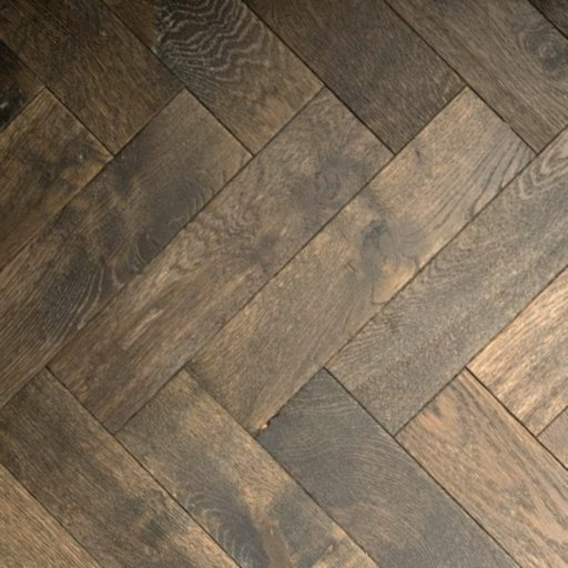 V4 Foundry Steel Engineered Oak Parquet Flooring, Rustic, Distressed, Stained, Handfinished & UV Oiled, 90x15x360 mm Image 1