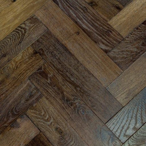 V4 Foundry Steel Engineered Oak Parquet Flooring, Rustic, Distressed, Stained, Handfinished & UV Oiled, 90x15x360 mm Image 2