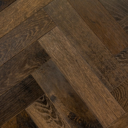 V4 Tannery Brown Engineered Oak Parquet Flooring, Rustic, Distressed, Stained, Handfinished & UV Oiled, 90x15x360 mm Image 1